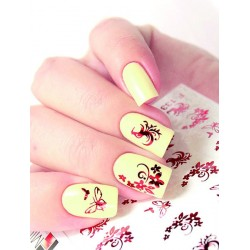 NAIL ART STICKERS. RED FLOWERS